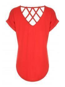 Womens Red Lattice Back T-Shirt