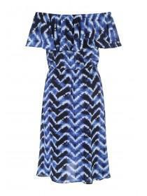 Womens Blue Tie Dye Bardot Dress