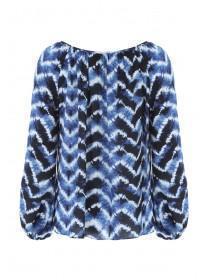 Womens Blue Tie Dye Blouse