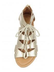 Older Girls Gold Lace Up Sandals