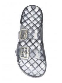 Womens Grey Glitter Double Buckle Jelly Slider Sandals