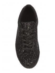 Womens Black Glitter Trainers