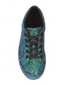 Womens Green Glitter Trainers