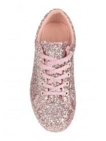 Womens Pink Glitter Trainers