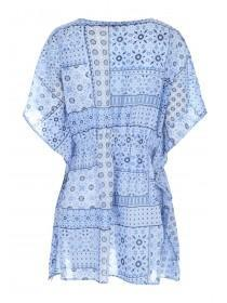 Womens Blue Tile Print Kaftan