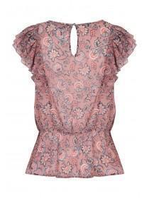 Womens Pink Floral Angel Sleeve Top