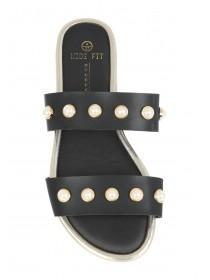 Womens Black Double Band Pearl Mule Sandals