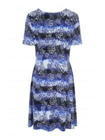 Womens Blue Floral Lattice Front Dress
