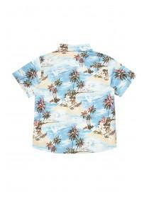 Younger Boys Aqua Hawaiian Print Shirt
