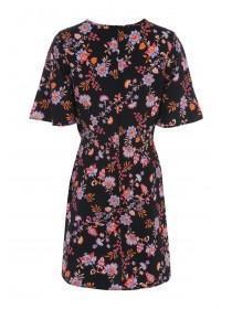 Womens Black Floral Knot Detail Dress