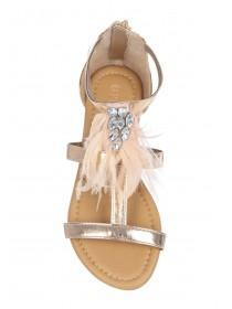 Older Girls Gold Feather Fluffy Sandals