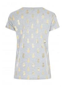 Womens Grey Foil Pineapple T-Shirt
