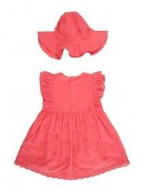 Baby Girls Pink Dress and Hat Set
