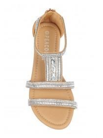 Older Girls Tan Jewelled Sandals