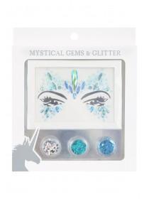 Womens Blue Glitter Make Up Set