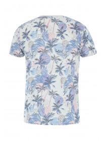 Mens Blue Tropical Print T-Shirt