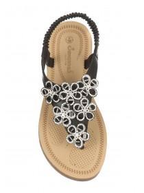 Womens Black Comfort Flower Sandals
