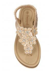 Womens Gold Comfort Flower Sandals
