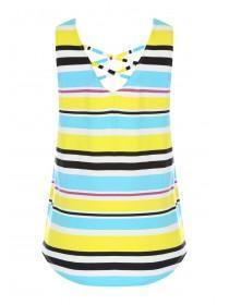 Womens Yellow Cross Back Stripe Top