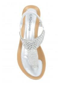 Womens Silver Diamante Comfort Wedge Sandals