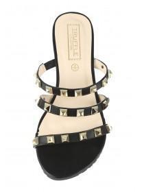 Womens Black Triple Band Studded Sandal