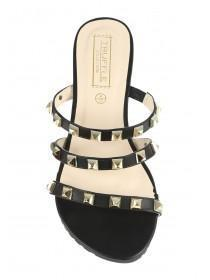 Womens Black Triple Band Studded Sandal