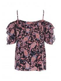 Womens Black Paisley Cold Shoulder Top