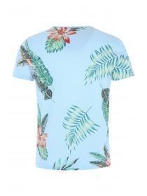 Mens Blue Floral T-Shirt