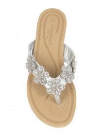 Womens Silver Flower Comfort Sandals