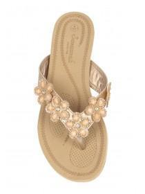 Womens Gold Flower Comfort Sandals