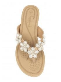 Womens Nude Flower Comfort Sandals
