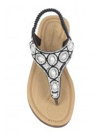 Womens Black Beaded Comfort Sandals