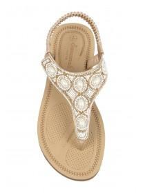 Womens Gold Beaded Comfort Sandals