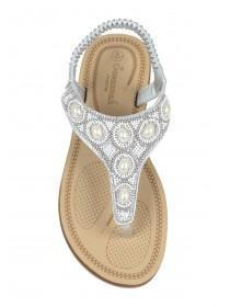 Womens Silver Beaded Comfort Sandals