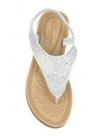 Womens Silver Diamante Comfort Sandals
