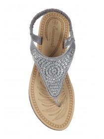 Womens Silver Diamante Comfort Sandals