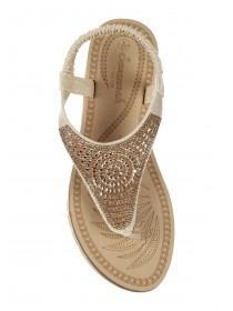 Womens Gold Diamante Comfort Sandals