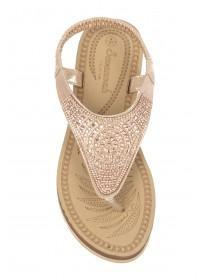 Womens Rose Gold Diamante Comfort Sandals