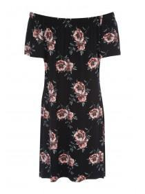 Womens Black Floral Frill Bardot Dress
