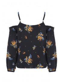 Womens Black Floral Cold Shoulder Top