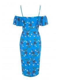 Womens Envy Blue Floral Cold Shoulder Dress