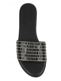 Womens Black Diamante Mule Sandals
