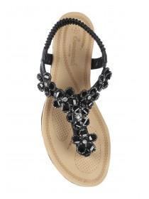 Womens Black Flower Gem Comfort Sandals