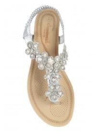 Womens Silver Flower Gem Comfort Sandals