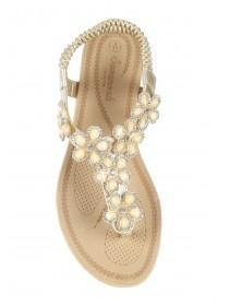 Womens Gold Flower Gem Comfort Sandals