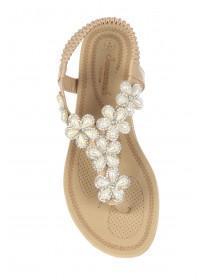 Womens Nude Flower Gem Comfort Sandals