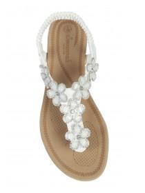 Womens White Flower Gem Comfort Sandals
