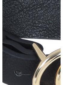 Womens Black Double Circle Buckle Skinny Belt