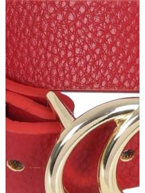 Womens Red Double Circle Buckle Skinny Belt
