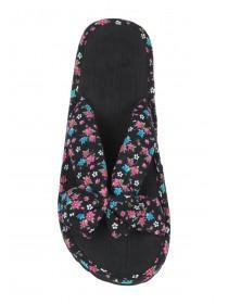 Womens Black Floral Cross Strap Bow Sandals